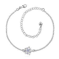 Vienna Jewelry Mock Sapphire Orchid Petite Anklet - Thumbnail 0
