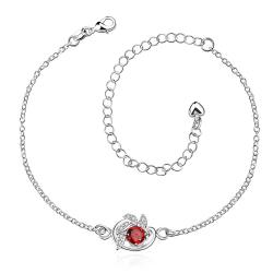 Vienna Jewelry Ruby Red Gem Spiral Emblem Petite Anklet - Thumbnail 0