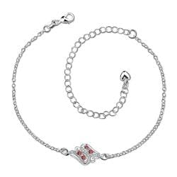 Vienna Jewelry Ruby Red Floral Bud Petite Anklet - Thumbnail 0