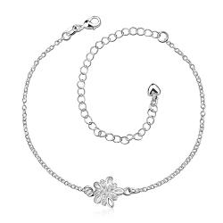 Vienna Jewelry Crystal Stone Orchid Petite Anklet - Thumbnail 0