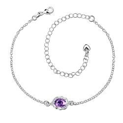 Vienna Jewelry Purple Citrine Gem Curved Shaped Petite Anklet - Thumbnail 0