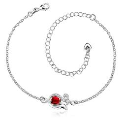 Vienna Jewelry Ruby Red Swirl Pendant Anklet - Thumbnail 0