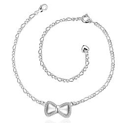 Vienna Jewelry Silver Bow-Tie Petite Anklet - Thumbnail 0