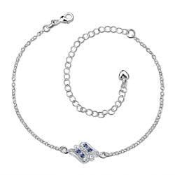 Vienna Jewelry Mock Sapphire Floral Bud Petite Anklet - Thumbnail 0