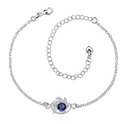 Vienna Jewelry Mock Sapphire Gem Spiral Emblem Petite Anklet - Thumbnail 0