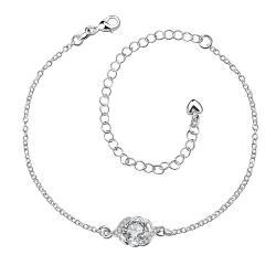 Vienna Jewelry Crystal Stone Circular Gem Petite Anklet - Thumbnail 0