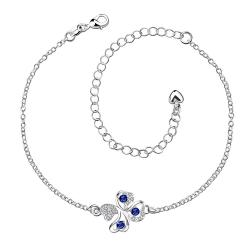 Vienna Jewelry Mock Sapphire Butterfly Shaped Petite Anklet - Thumbnail 0