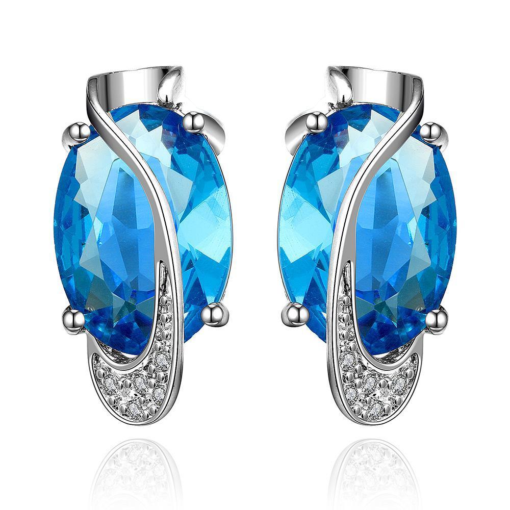 Vienna Jewelry Mock Sapphire Curved Linear Earrings