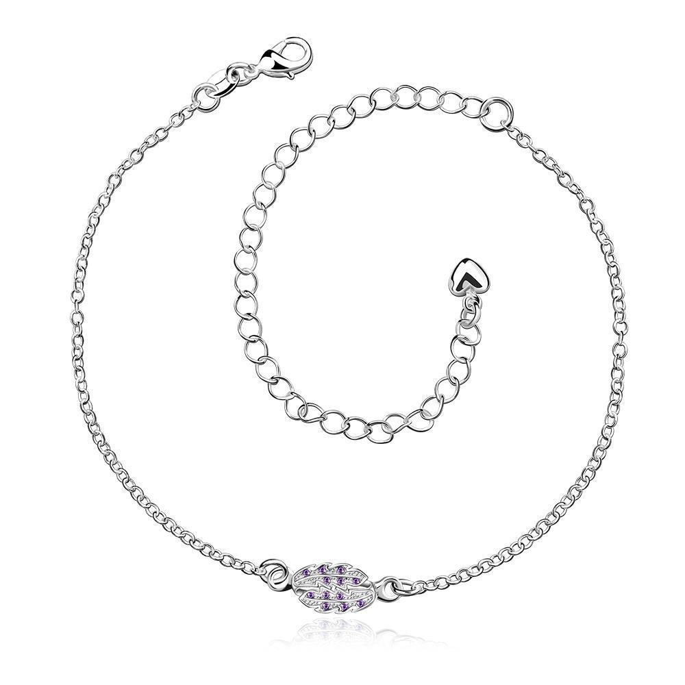 Vienna Jewelry Pruple Citrine Grape Vine Orchid Anklet