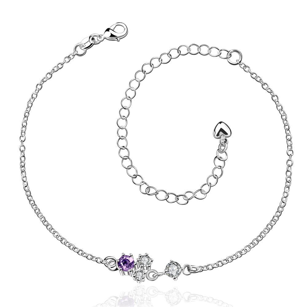 Vienna Jewelry Petite Mock Purple Citrine Butterfly Shaped Anklet