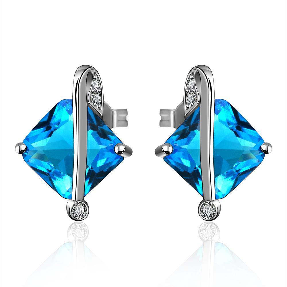 Vienna Jewelry Mock Sapphire Diamond Shaped Classic Earrings