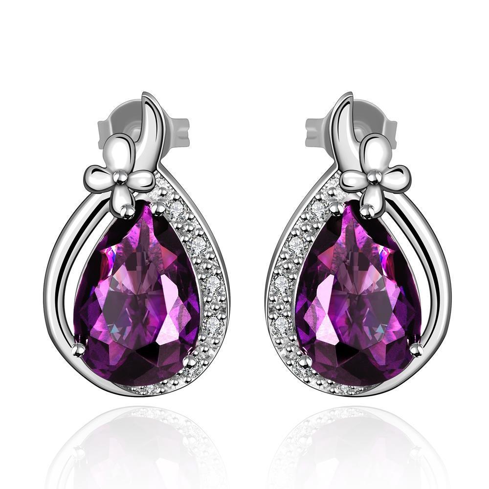 Vienna Jewelry Mock Sapphire Gem Triangular Drop Earrings