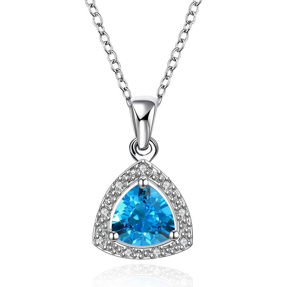 Vienna Jewelry Mock Sapphire Pyramid Shaped Jewels Insert Necklace