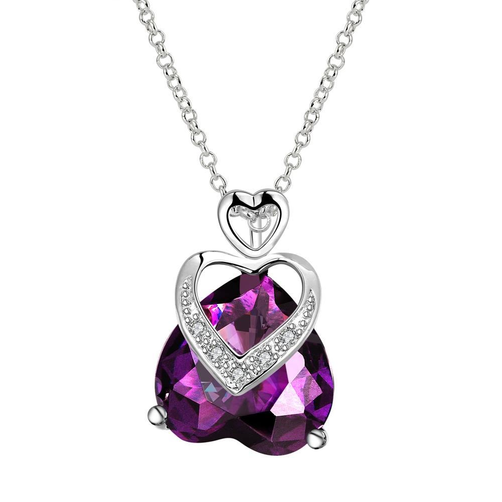Vienna Jewelry Purple Citrine Hollow Hearts Overlay Drop Necklace
