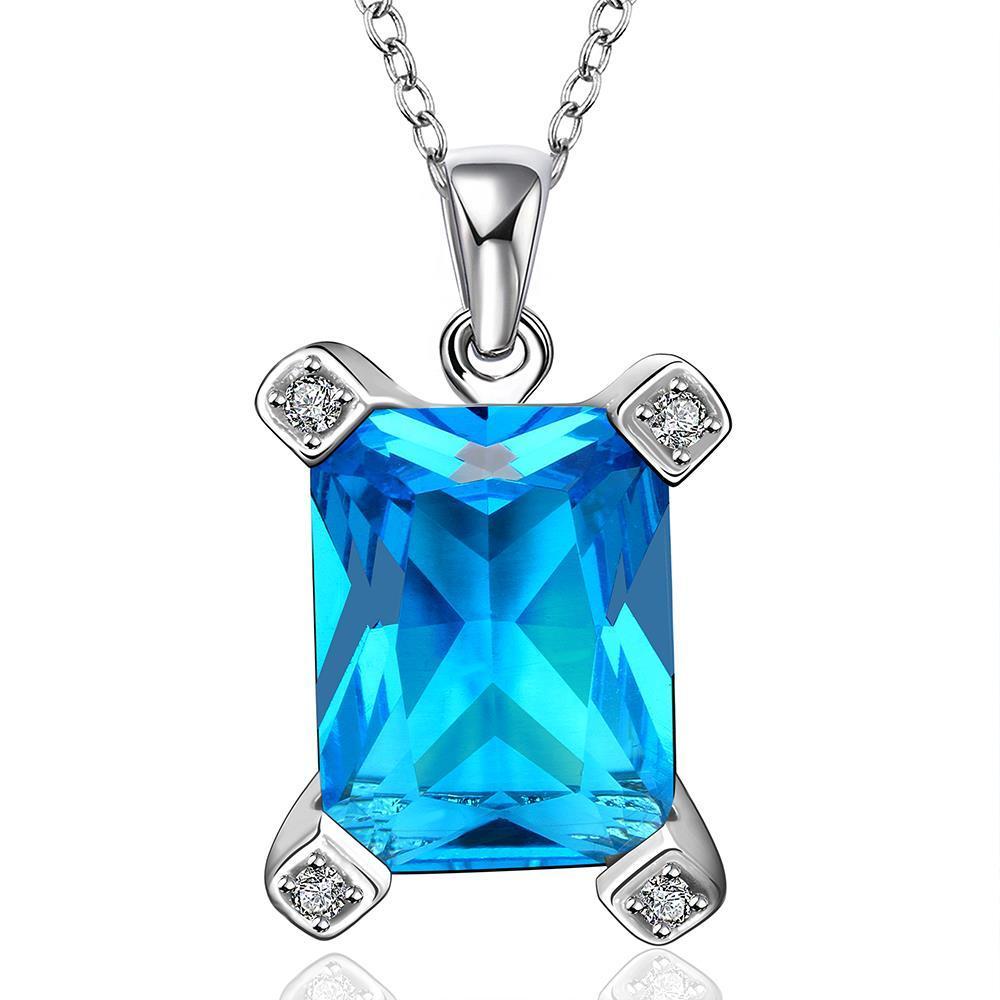 Vienna Jewelry Mock Large Sapphire Gem Drop Necklace