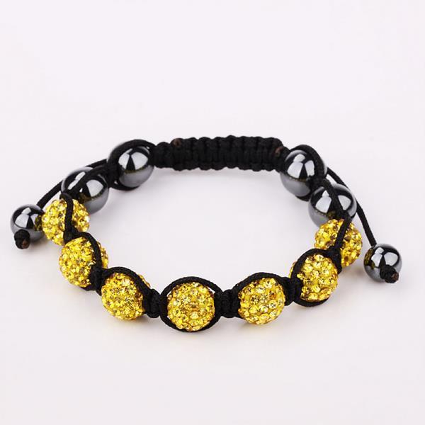 Vienna Jewelry Hand Made Six Stone Swarovksi Elements Bracelet- Yellow Citrine