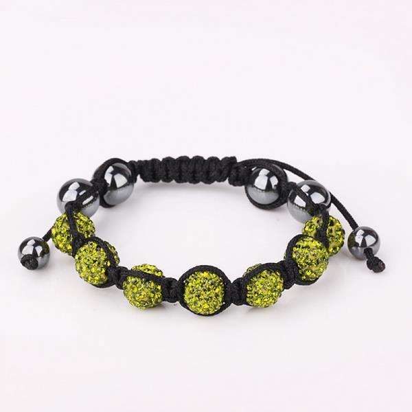 Vienna Jewelry Hand Made Six Stone Swarovksi Elements Bracelet- Light Emerald