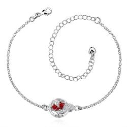 Vienna Jewelry Ruby Red Petite Gem Anklet - Thumbnail 0