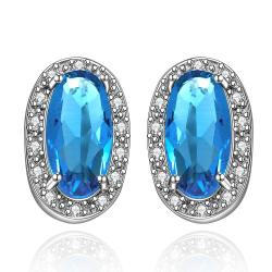 Vienna Jewelry Mock Sapphire Gem Covered with Jewels Earrings - Thumbnail 0