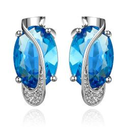 Vienna Jewelry Mock Sapphire Curved Linear Earrings - Thumbnail 0