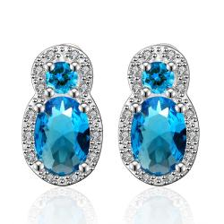 Vienna Jewelry Mock Double Sapphire Gem with Jewels Covering Earrings - Thumbnail 0