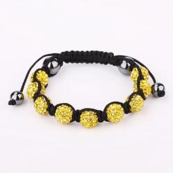 Vienna Jewelry Hand Made Eight Stone Swarovksi Elements Bracelet- Light Yellow Citrine