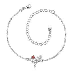Vienna Jewelry Ruby Red Spiral Floral Emblem Anklet - Thumbnail 0
