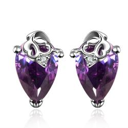 Vienna Jewelry Diamond Shaped Purple Citrine Earrings - Thumbnail 0