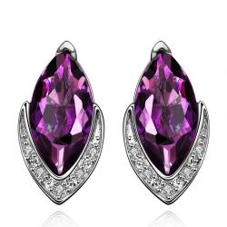 Vienna Jewelry Purple Citrine Diamond Shaped Crystal Jewels Covering Earrings - Thumbnail 0
