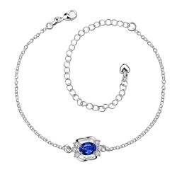 Vienna Jewelry Mock Sapphire Curved Abstract Petite Anklet - Thumbnail 0
