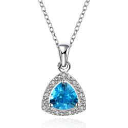 Vienna Jewelry Mock Sapphire Pyramid Shaped Jewels Insert Necklace - Thumbnail 0