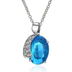 Vienna Jewelry Mid Size Mock Sapphire Crystal Insert Necklace - Thumbnail 0