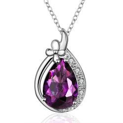Vienna Jewelry Purple Citrine Drop Jewels Classical Necklace - Thumbnail 0