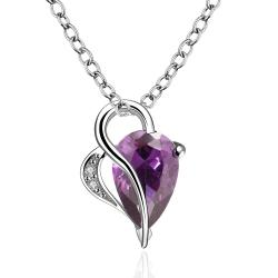 Vienna Jewelry Purple Citrine Curved Hollow Hearts Drop Necklace - Thumbnail 0