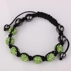 Vienna Jewelry Hand Made Six Stone Swarovksi Elements Bracelet- Bright Emerald