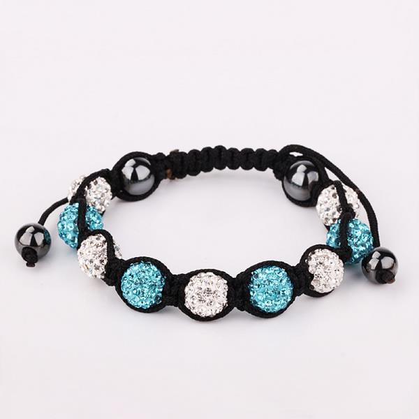 Vienna Jewelry Hand Made Swarovksi Elements Bracelet & Crystal Beads-Light Saphire