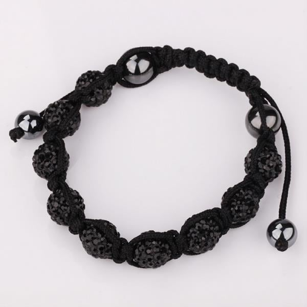 Vienna Jewelry Hand Made Eight Stone Swarovksi Elements Bracelet- Bright Onyx