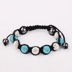 Vienna Jewelry Hand Made Swarovksi Elements Bracelet & Crystal Beads-Light Saphire - Thumbnail 0
