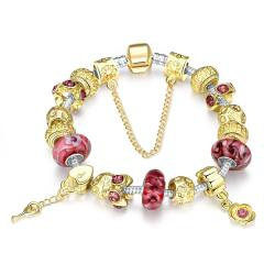 Vienna Jewelry Gold & Milk Ruby Pandora Inspired Bracelet