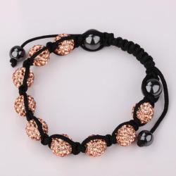 Vienna Jewelry Hand Made Eight Stone Swarovksi Elements Bracelet- Bright Champagne - Thumbnail 0
