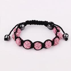 Vienna Jewelry Hand Made Eight Stone Swarovksi Elements Bracelet- Light Coral - Thumbnail 0
