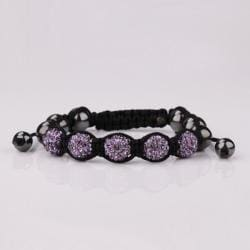 Vienna Jewelry Hand Made Five Stone Swarovksi Elements Bracelet-Lavender