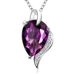 Vienna Jewelry Large Purple Citrine Gem Curved Necklace - Thumbnail 0