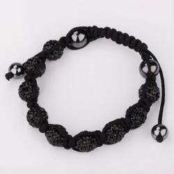 Vienna Jewelry Hand Made Eight Stone Swarovksi Elements Bracelet- Bright Onyx - Thumbnail 0