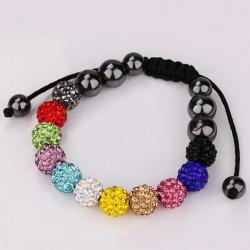 Vienna Jewelry Black Hand Made Bracelet Rainbow Beads