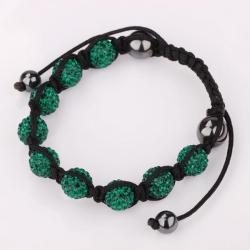 Vienna Jewelry Hand Made Eight Stone Swarovksi Elements Bracelet- Dark Emerald - Thumbnail 0
