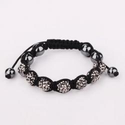 Vienna Jewelry Hand Made Six Stone Swarovksi Elements Bracelet- Bright Onyx - Thumbnail 0
