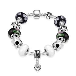 Vienna Jewelry Multi Color Black & White Pandora Inspired Bracelet