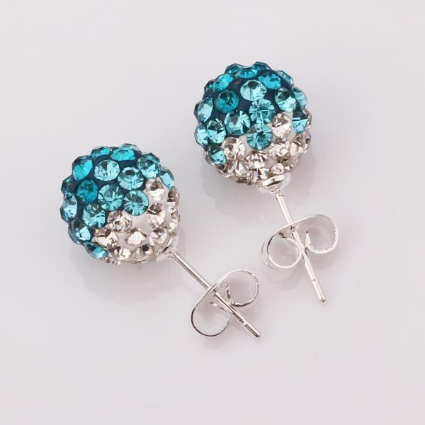 Vienna Jewelry Two Toned Swarovksi Element Stud Earrings- Light Saphire