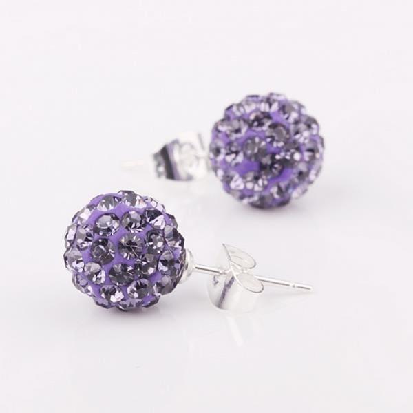 Vienna Jewelry Vivid Dark Swarovksi Element Lavender Stud Earrings